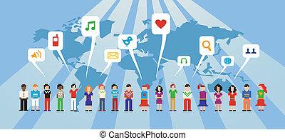 média, réseau, social