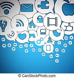 média, résumé, parole, nuages, icônes
