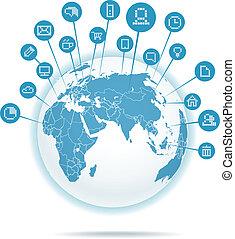 média, résumé, plan, réseau, social