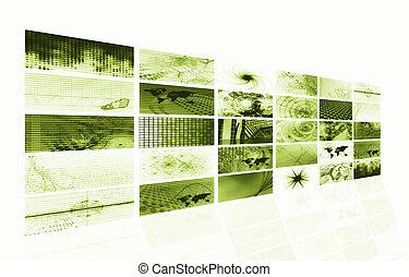 média, résumé, vert, futuriste, fond
