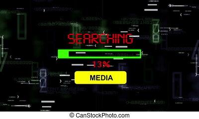 média, recherche, ligne