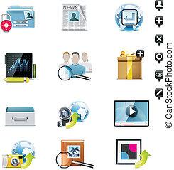 média, set., vecteur, social, p.3, icône