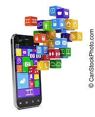 média, smartphone, concept