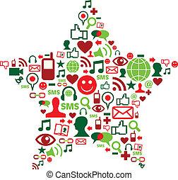média, social, étoile, noël, icônes