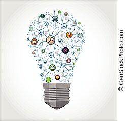 média, social, ampoule, lumière, icônes
