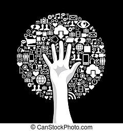 média, social, arbre, main