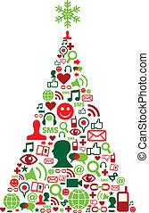 média, social, arbre, noël, icônes
