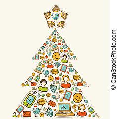 média, social, arbre, réseaux, noël