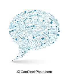 média, social, bulle, icône