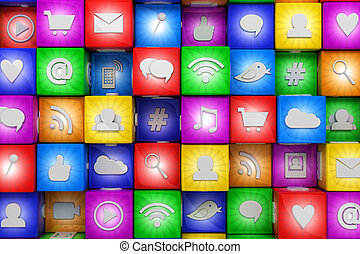 média, social, coloré, icônes