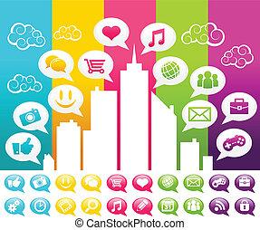 média, social, coloré, ville