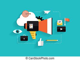 média, social, commercialisation, illustration, plat