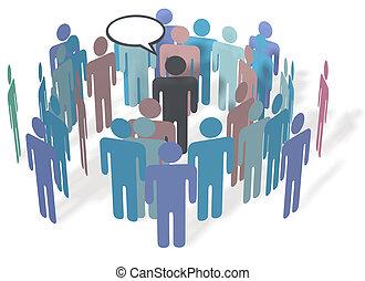 média, social, communication, personnes réunion