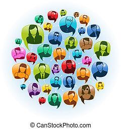 média, social, conversation
