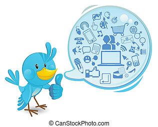 média, social, gestion réseau, oiseau bleu
