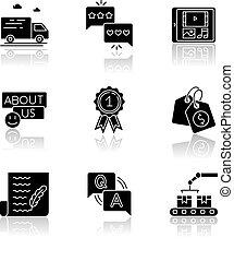 média, social, glyph, noir, ombre, présence, goutte, icônes...