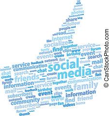 média, social, haut, pouce