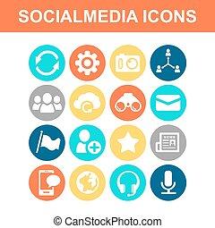 média, social, icône