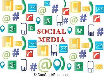 média, social, icônes