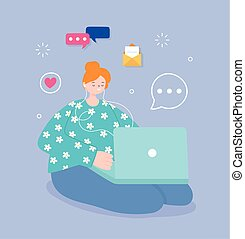 média, social, ordinateur portable, jeune, utilisation ordinateur, femme