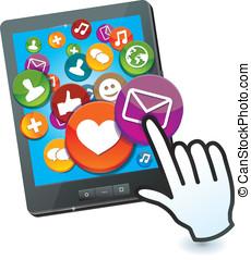 média, social, pc, tablette, icônes