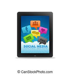 média, social, pc tablette
