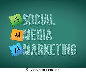 média, social, poteaux, commercialisation