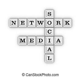 média,  Social,  Puzzle, réseau, mots croisés