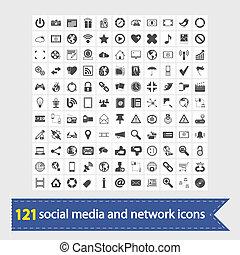 média, social, réseau, icônes
