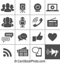 média, social, &, réseau, icônes