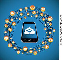 média, social, réseau, intelligent, téléphone