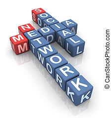 média, social, réseau, mots croisés