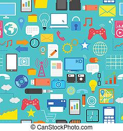 média, social, seamless, modèle