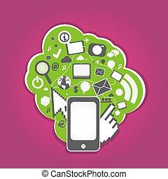 média, social, technologie, intelligent, téléphone