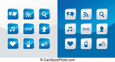 média, social, verre, icônes