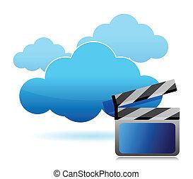 média, stockage, nuage, calculer