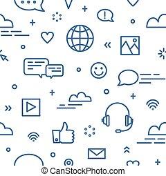 média, style, wallpaper., art, messagerie, bavarder, modèle, global, gestion réseau, communication, seamless, symboles, arrière-plan., vecteur, illustration, internet, instant, ligne blanche, social