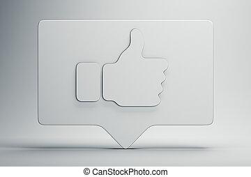 média, symbole, rendering., haut, ou, pouces, social, icon., concept., blanc, 3d
