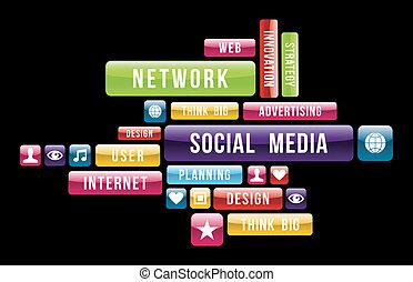 média, társadalmi, felhő, internet