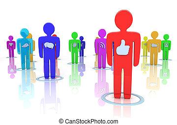 média, társadalmi, ikonok