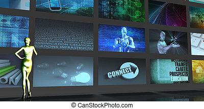 média, télécommunications, télécommunication