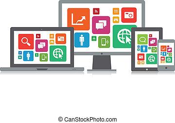 média, technologie, app