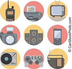média, technologie, plat, icônes