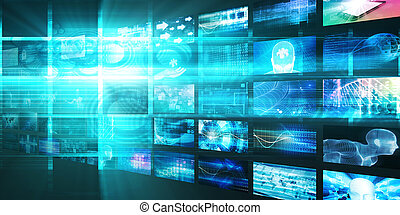 média, technologies, concept