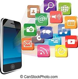 média, touchscreen, social