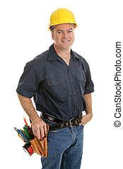 média, trabalhador construção