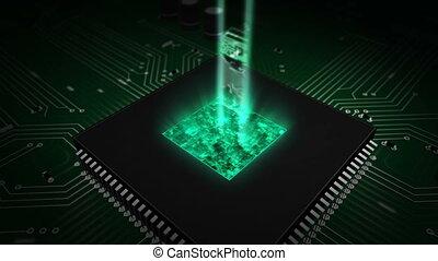 média, unité centrale traitement, numérique, hologramme, planche