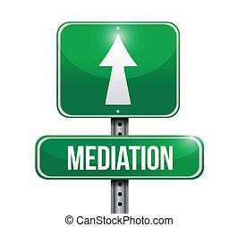 médiation, conception, route, illustration, signe