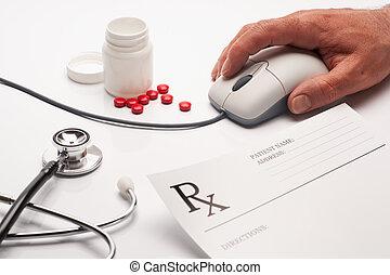médicament prescription, et, souris ordinateur