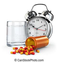 médicament, time., pilules, arrosez verre, et, reveil, clock.